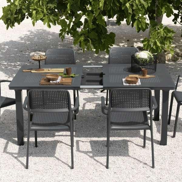Table de jardin avec allonge en polypropylène anthracite - Levante 2 - 6