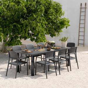 Table de jardin avec allonge en polypropylène anthracite - Levante