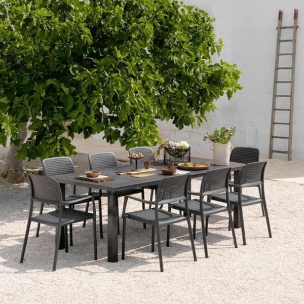 Table de jardin avec allonge en polypropyl ne et aluminium levante 4 pieds tables chaises Table de jardin aluminium en solde