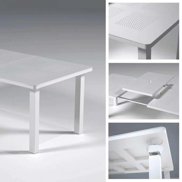 Table de jardin avec allonge en polypropylène blanc - Levante - 3