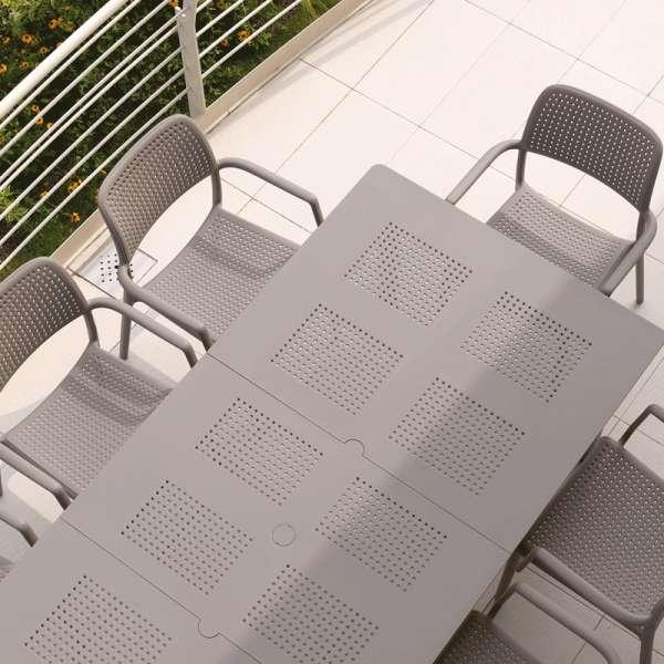 Table de jardin extensible en polypropylène taupe - Levante - 9