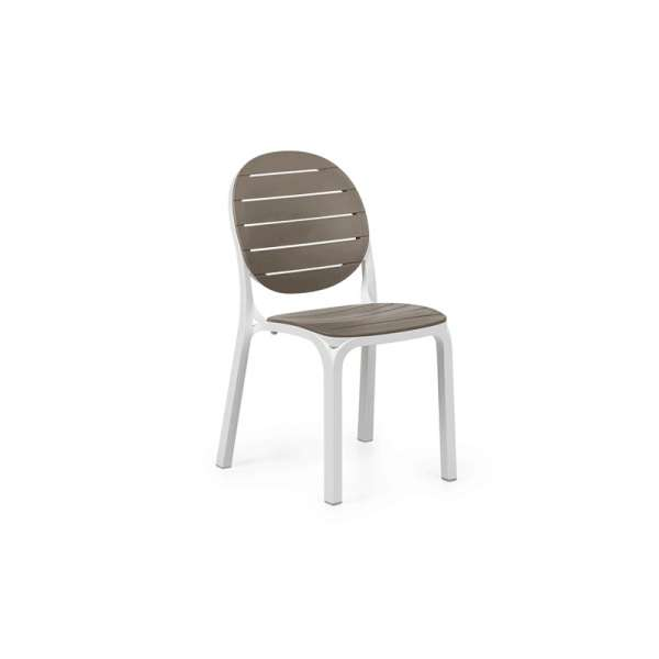 Chaise de jardin en polypropylène blanc et taupe - Erica - 73