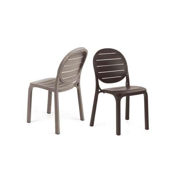 Chaise de jardin en polypropylène taupe et café - Erica - 245
