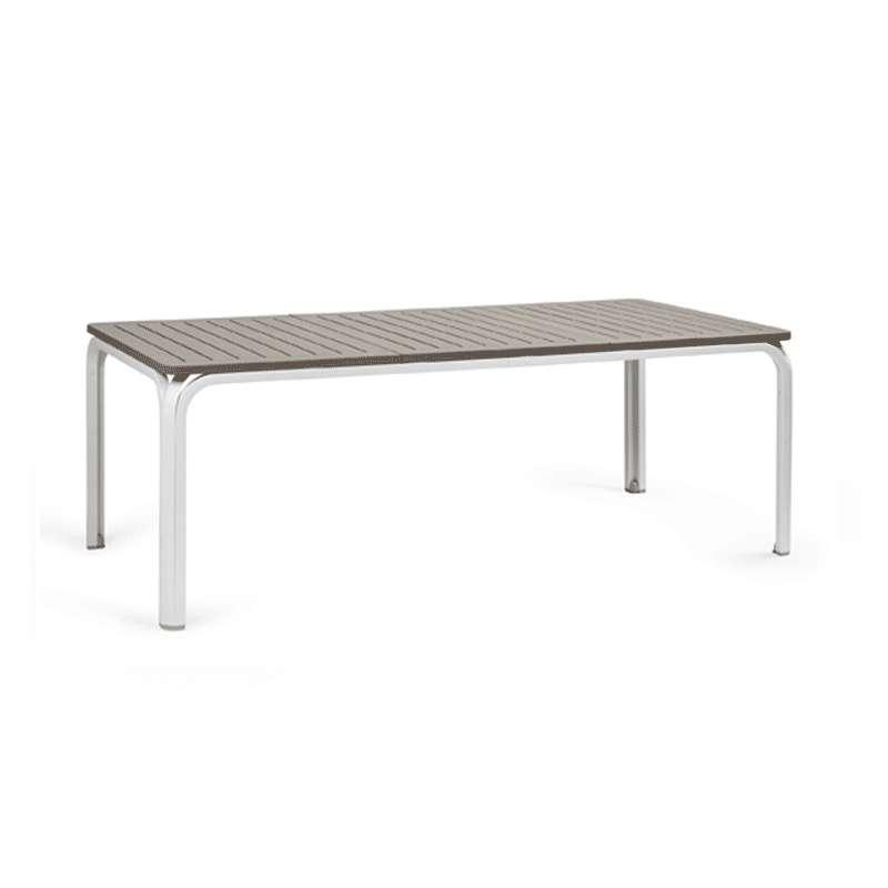 table de jardin extensible en polypropylne blanc et taupe alloro 210 9 - Table Jardin Rallonge