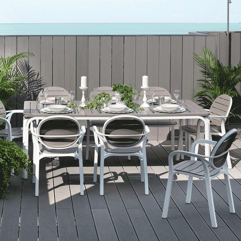 beautiful table de jardin en aluminium blanche pictures. Black Bedroom Furniture Sets. Home Design Ideas
