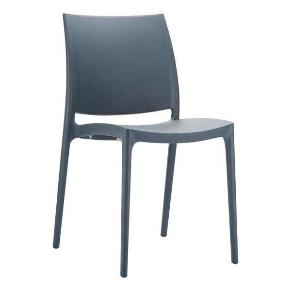 Chaise de jardin en polypropylène anthracite - Maya - 6