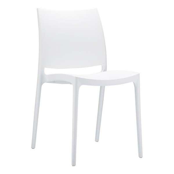 Chaise de jardin en plastique blanc - Maya - 12