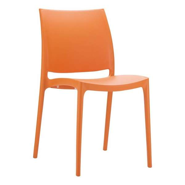 Chaise de jardin en polypropylène orange - Maya - 9