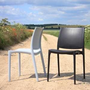 Chaise de jardin en polypropylène blanc et noir - Maya