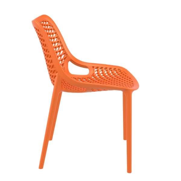 Chaise de jardin moderne ajourée en plastique orange - Air - 16