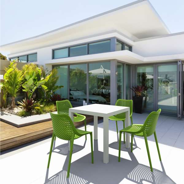 Chaise de jardin moderne ajour e en polypropyl ne air 4 pieds tables c - Salon de jardin en polypropylene ...