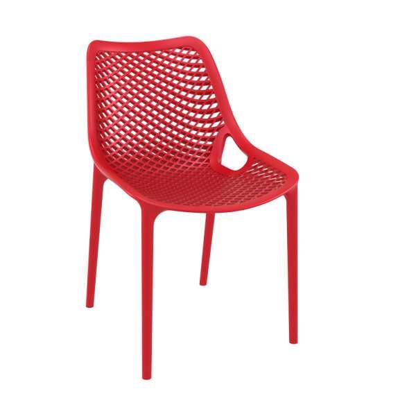 Chaise de jardin moderne ajourée en polypropylène rouge - Air - 5