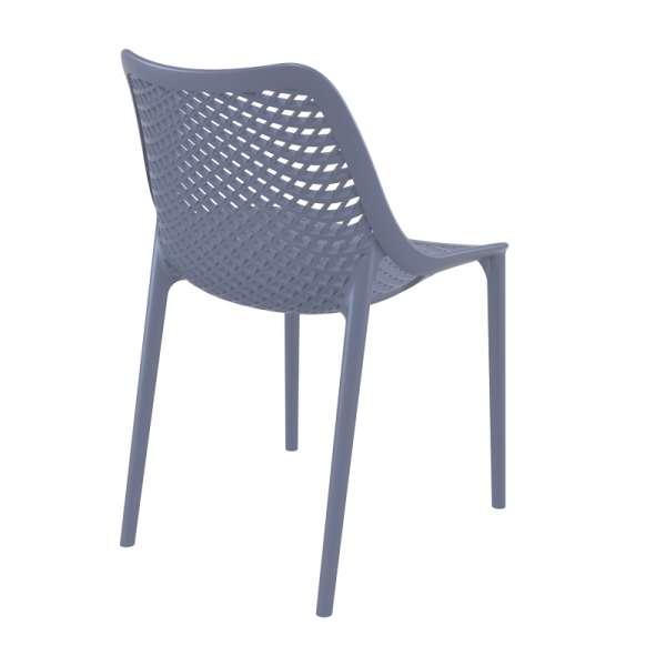 Chaise de jardin moderne ajourée en plastique gris foncé - Air - 12