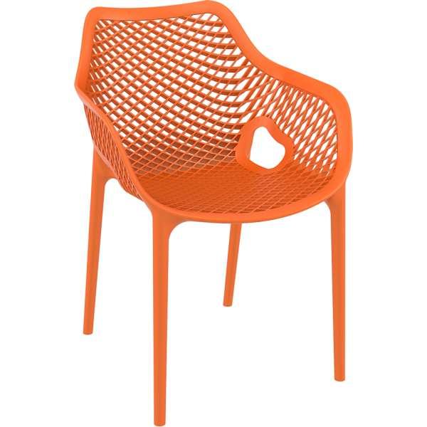 Fauteuil de jardin moderne ajouré en polypropylène orange - Air 12 - 14