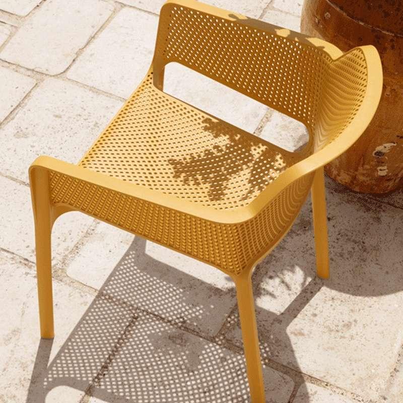 fauteuil de terrasse moderne en polypropylne moutarde net 4 - Fauteuil De Terrasse