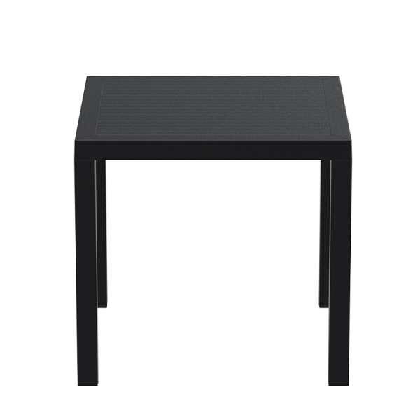 Table de terrasse carrée en plastique noir - Ares - 7