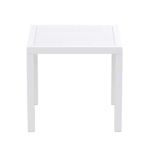 Table de jardin carrée en plastique blanc - Ares - 17