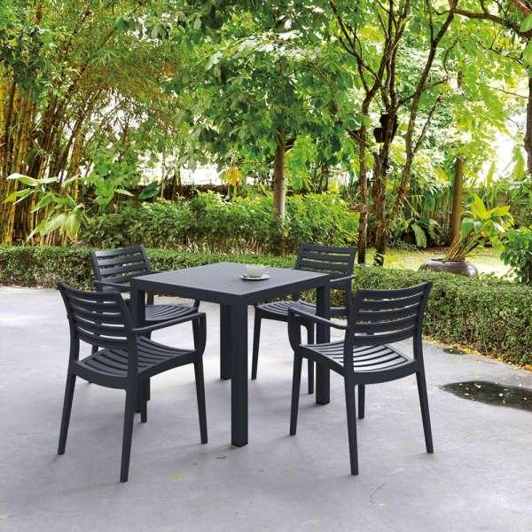 Table de terrasse carrée en polypropylène gris foncé - Ares - 2