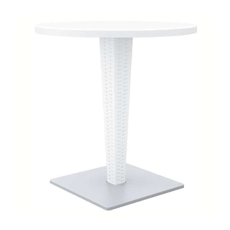 Table de jardin ronde en r sine tress e et plateau werzalit riva 4 pieds - Table ronde resine tressee ...
