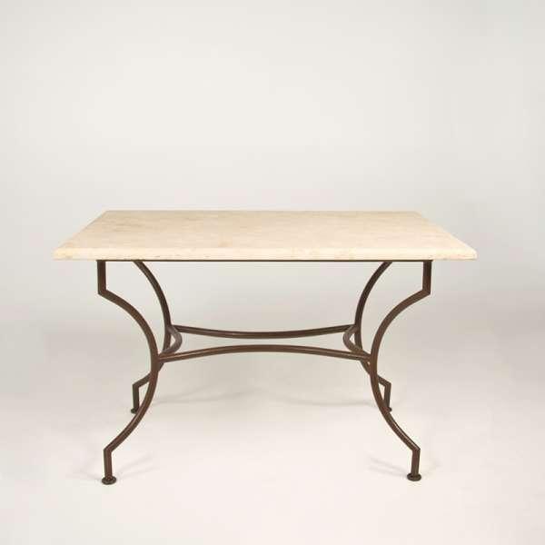 Table de jardin en travertin beige rectangulaire 120 x 80 cm - 1280 - 2