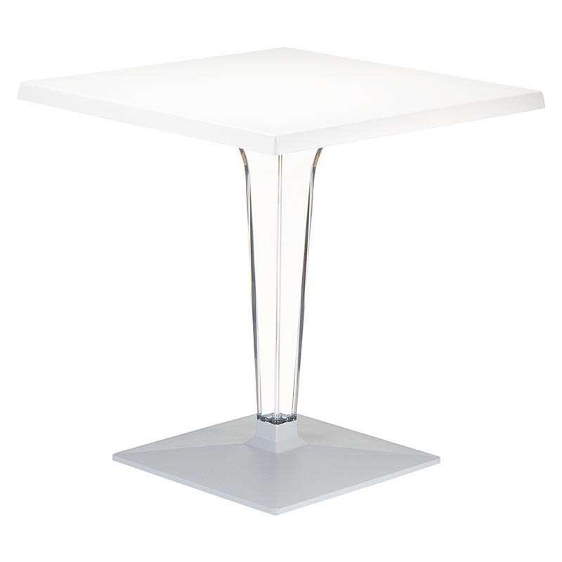 Table de jardin carr e en polycarbonate et stratifi ice for Table carree exterieur aluminium