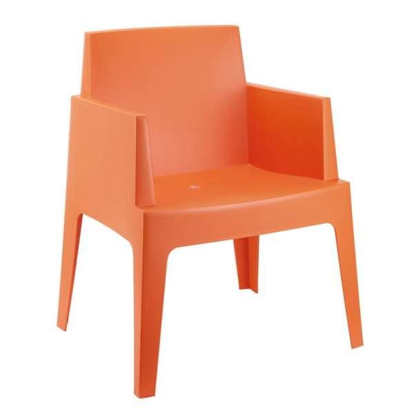 Fauteuil moderne en polypropylène orange - Box - 9