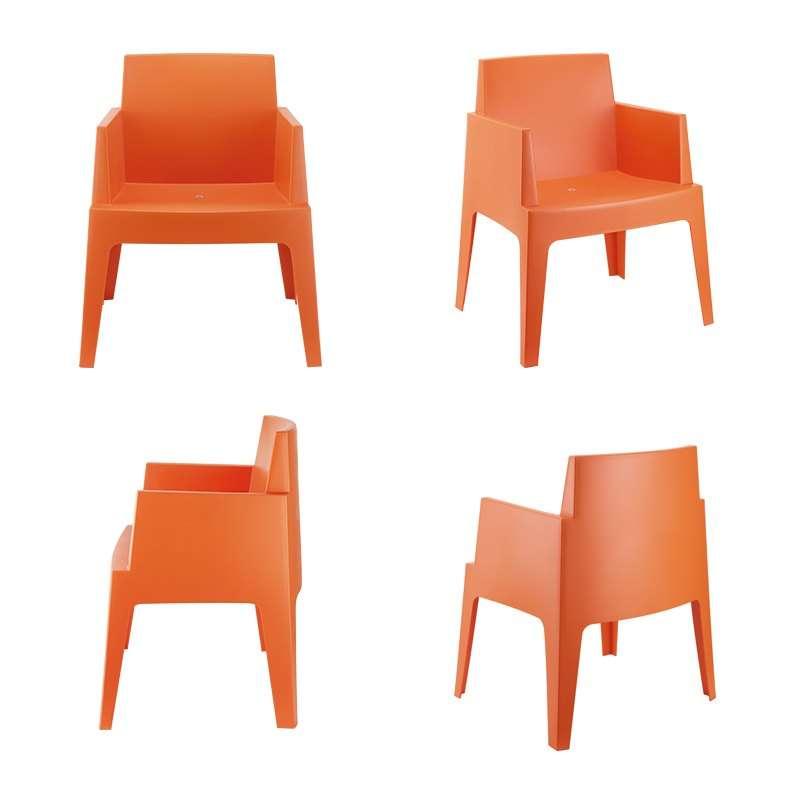 Fauteuil Moderne En Polypropylène Box Pieds Tables Chaises - Fauteuil orange