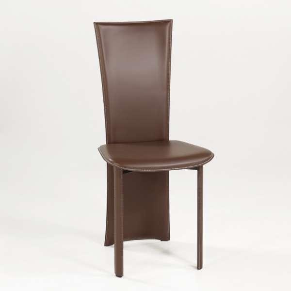 Chaise contemporaine en croûte de cuir - Wally