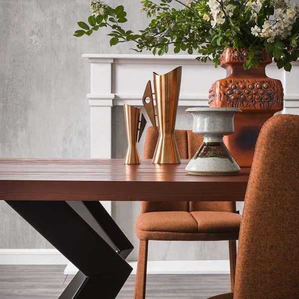 Table de salle à manger design extensible en stratifié et métal - Mix 2 - 2