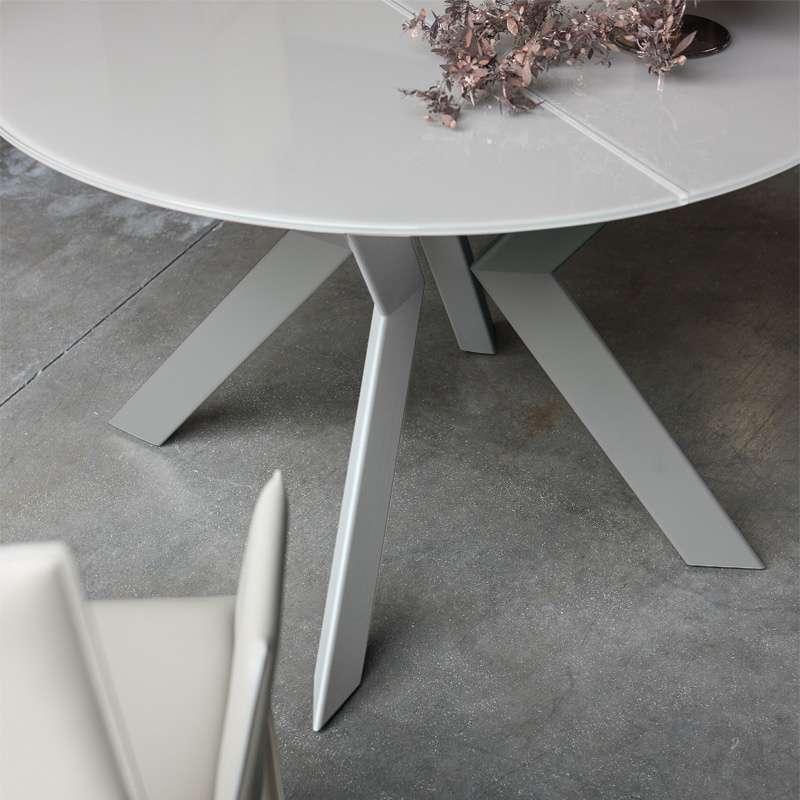 table ronde design extensible en verre et m tal vale 4. Black Bedroom Furniture Sets. Home Design Ideas