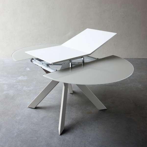 Table ronde design extensible en verre et métal - Vale - 3