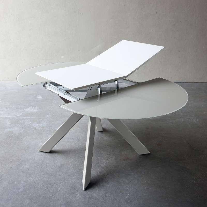 table ronde design extensible en verre extralight blanc et. Black Bedroom Furniture Sets. Home Design Ideas