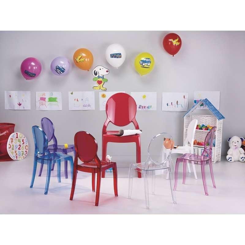 Chaise enfant en plexi elizabeth 4 pieds tables for Chaise medaillon enfant