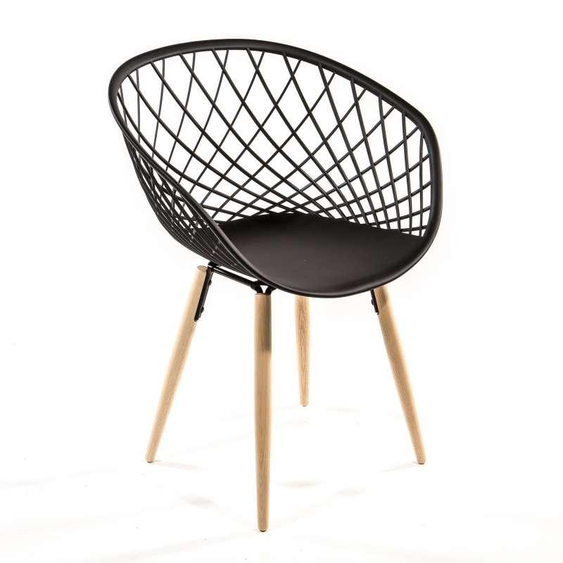 Chaise design noir et bois