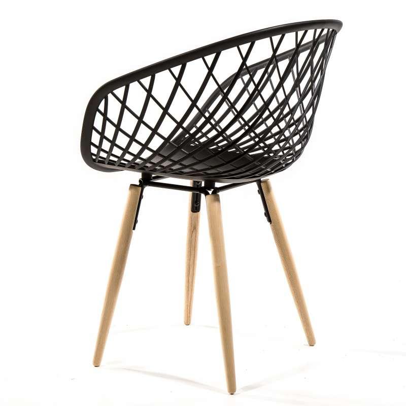 Chaise En Polypropylne Noir Et Bois