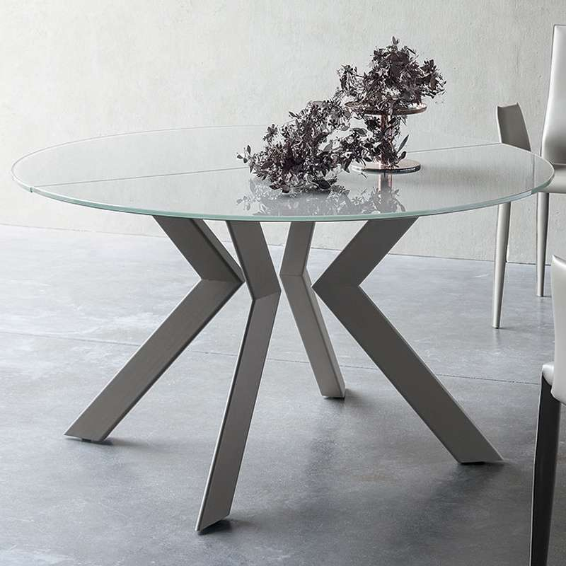 Table ronde design extensible en verre et m tal vale 4 for Table extensible 4 chaises