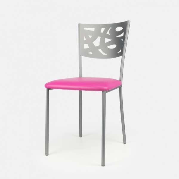 Chaise contemporaine en métal et vinyle - Claudie 2 - 2
