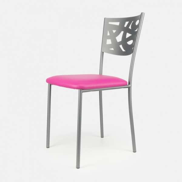 Chaise contemporaine en métal et vinyle - Claudie 3 - 3