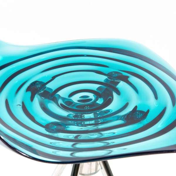 Tabouret réglable design en technopolymère vert transparent et métal - 1477  9 - 9