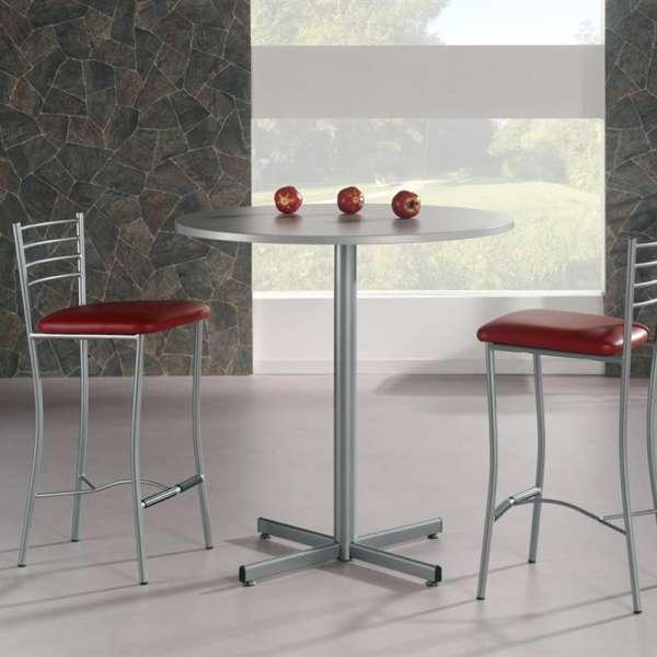 table snack de cuisine ronde en m lamin et m tal voyager 4. Black Bedroom Furniture Sets. Home Design Ideas