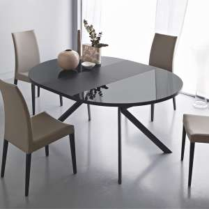 Table ronde extensible en verre gris anthracite - Giove 2