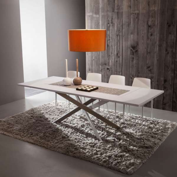 Table de salle manger design extensible en fenix renzo - Table a manger design extensible ...