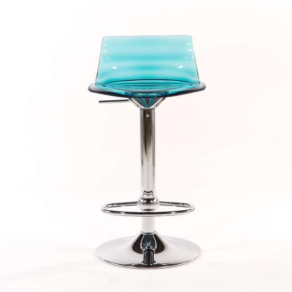 Tabouret réglable design en technopolymère vert transparent et métal - 1477  - 3