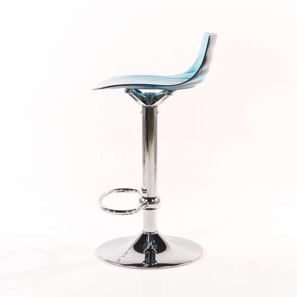 Tabouret réglable design en technopolymère vert transparent et métal - 1477 4 - 6