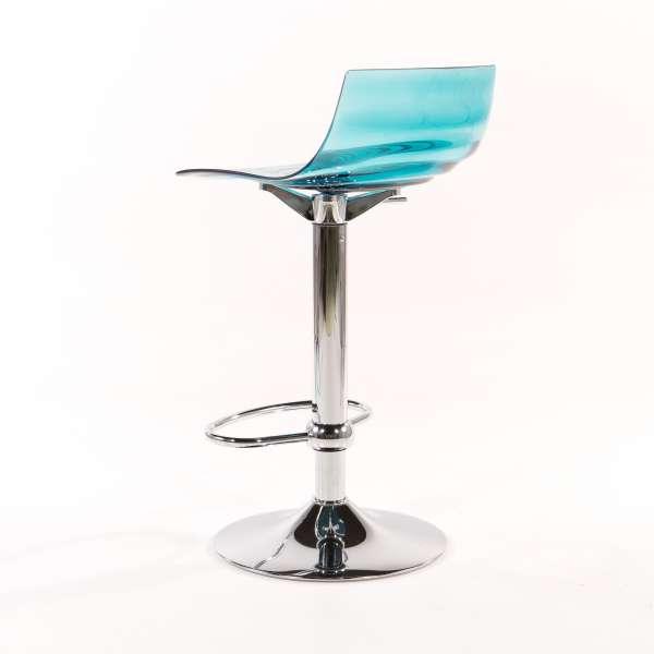 Tabouret réglable design en technopolymère vert transparent et métal - 1477 8 - 8