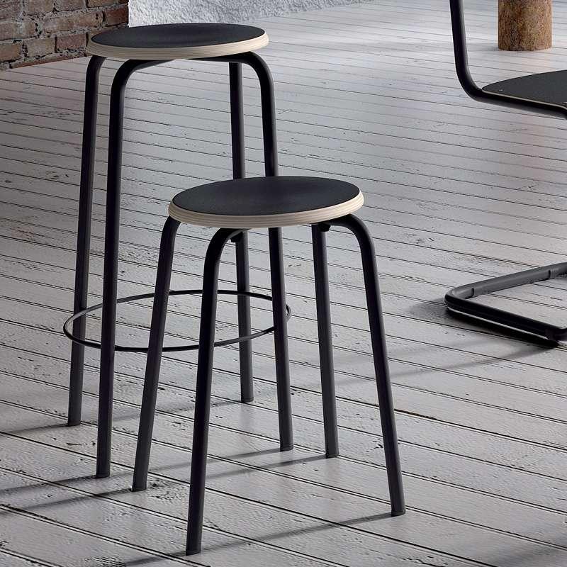 Tabouret snack vintage bois et métal Coll u00e8ge 4 Pieds tables, chaises et tabourets # Tabouret Snack Bois