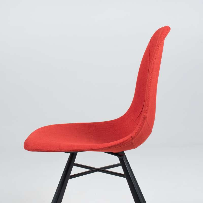 chaise coque en tissu orange et mtal tulipe 5 5 - Chaise Coque