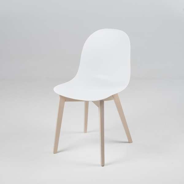Chaise scandinave en polypropylène blanc et bois - 1665 Academy Connubia 2 - 2