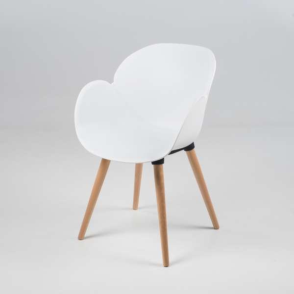 Fauteuil design en polypropylène blanc et bois - Victoire 2 - 11