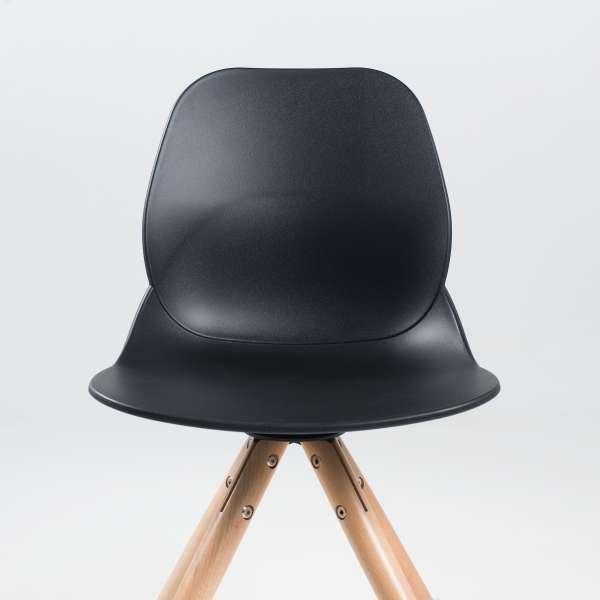 Chaise design en polypropylène noir et bois - Victoire 3 - 3